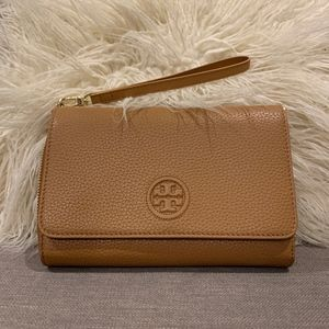 Tory Burch Pebbled Leather Brown Clutch Crossbody